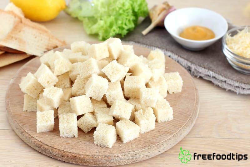 Cut bread into cubes