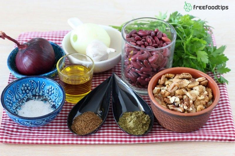 Ingredients for Georgian red bean stew