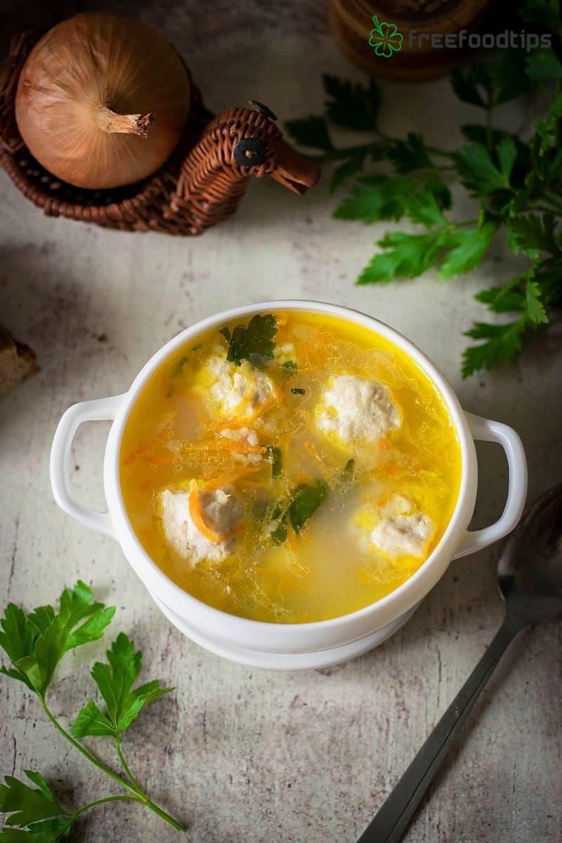 Homemade Chicken Meatball Soup