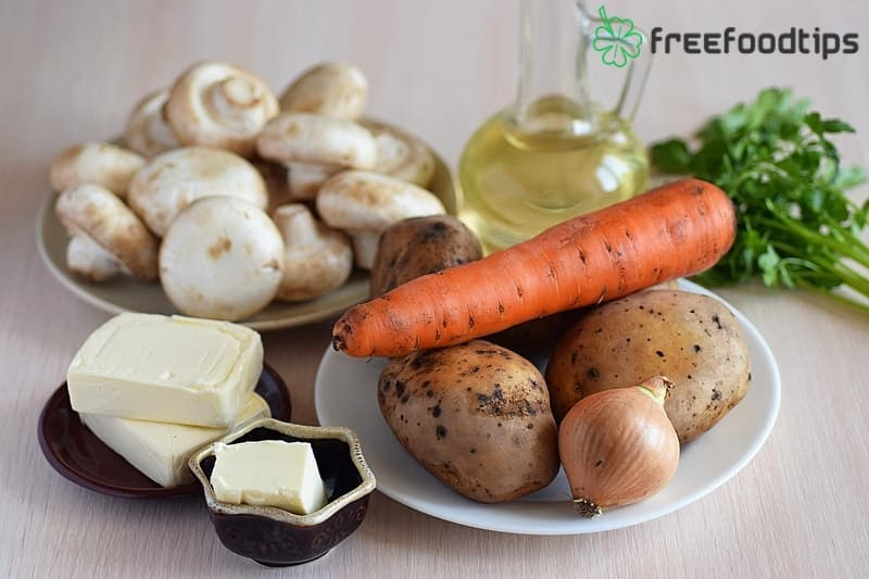 Ingredients for Creamy Mushroom Soup