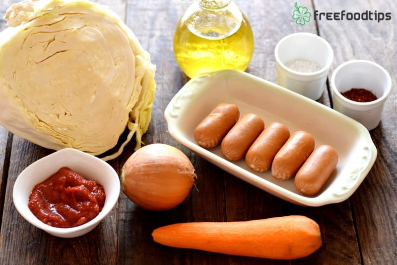 Ingredients for Sauteed cabbage with sausages