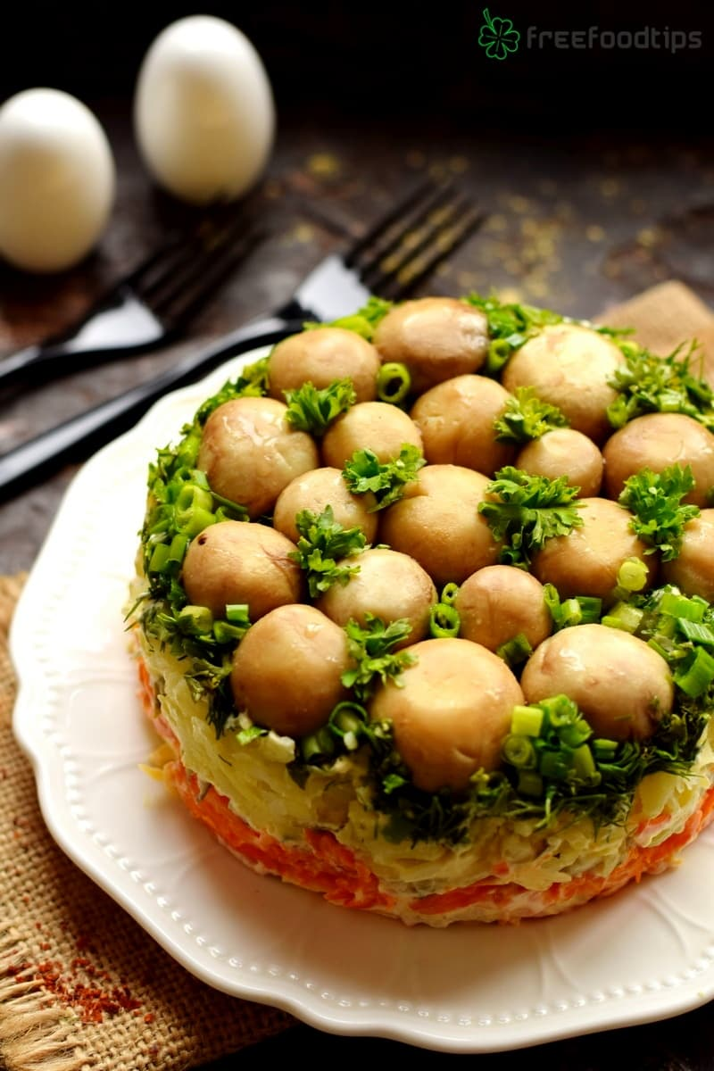 Layered Salad with Pickled Mushrooms