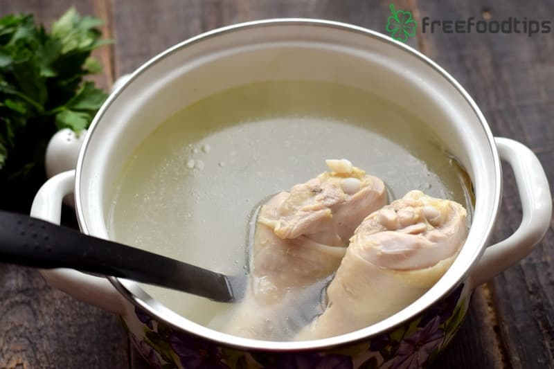 Cook chicken broth