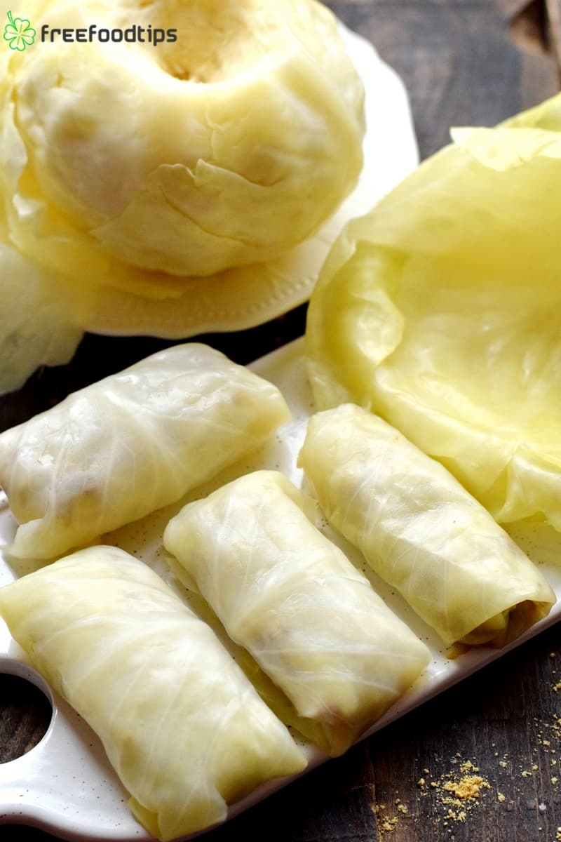 Wrap cabbage rolls using softened leaves