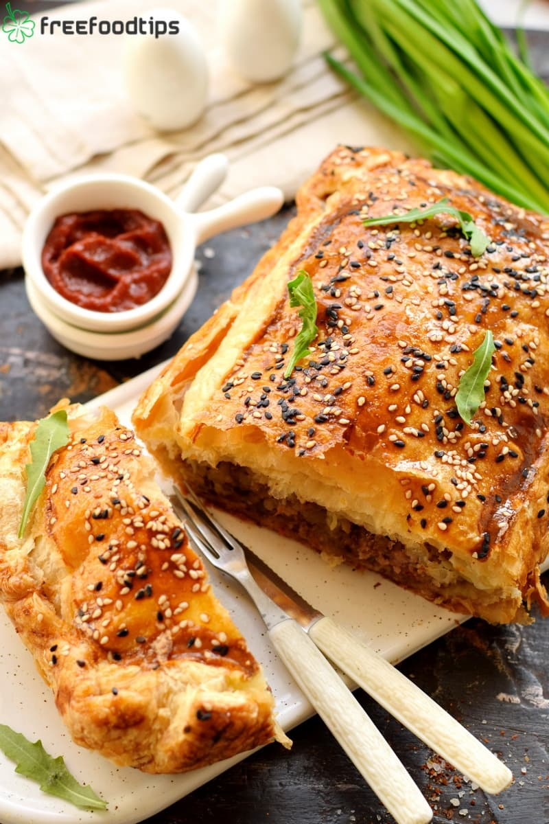 Meat and Potato Pie Recipe with Puff Pastry
