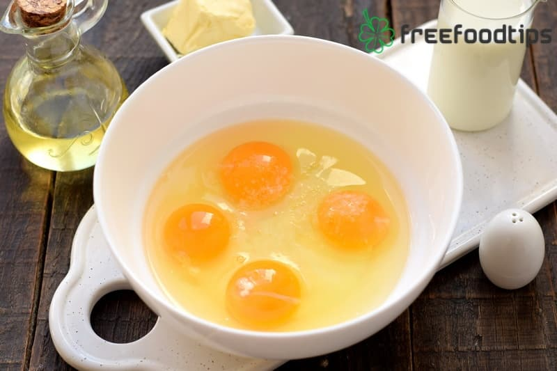 Beat eggs into the bowl and add salt