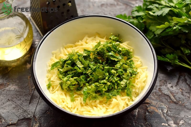 Combine grated cheese with chopped parsley