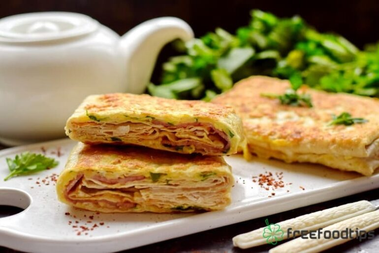 Flatbread Sandwich Wraps with Ham and Cheese Filling