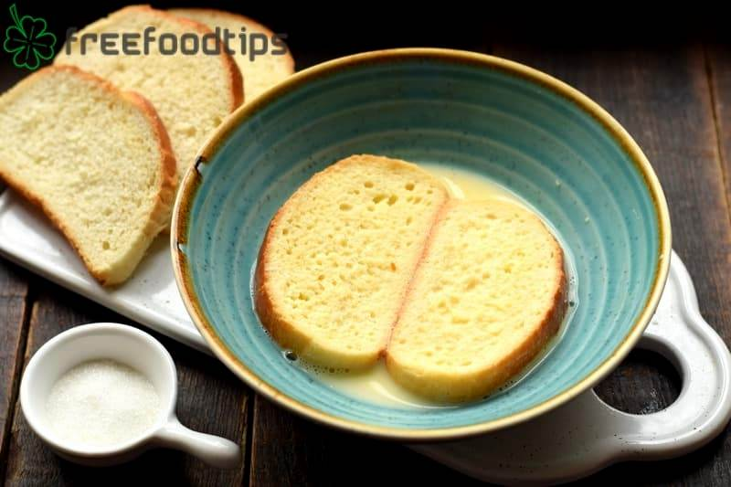 Dip every slice of bread into the egg milk mixture