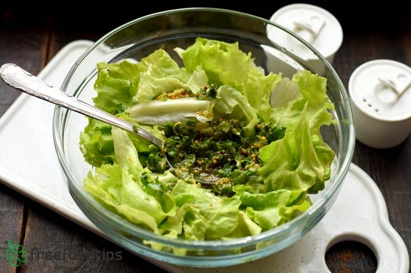 Add other half to the shredded romaine