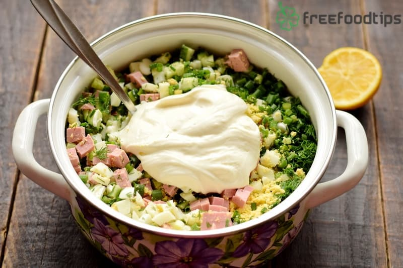 Combine all the chopped ingredients with sour cream in a pot