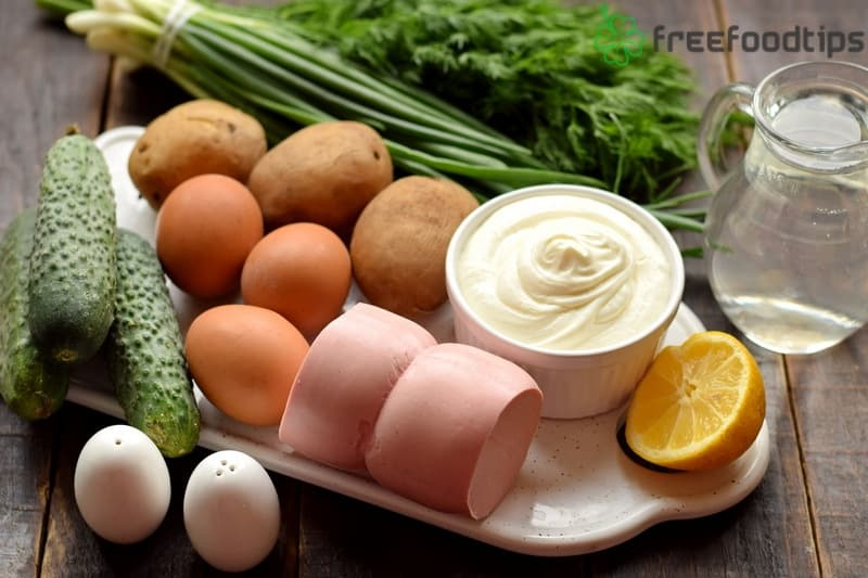 List of ingredients for Okroshka