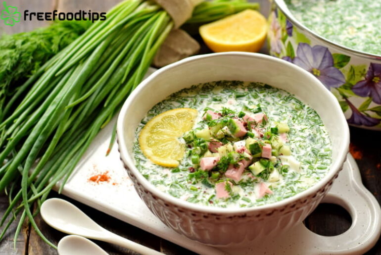Tasty Cold Summer Soup with Cucumber and Sour Cream