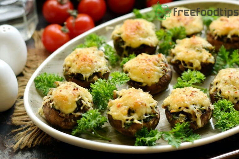 Stuffed Mushrooms Recipe with Garlic and Cheese