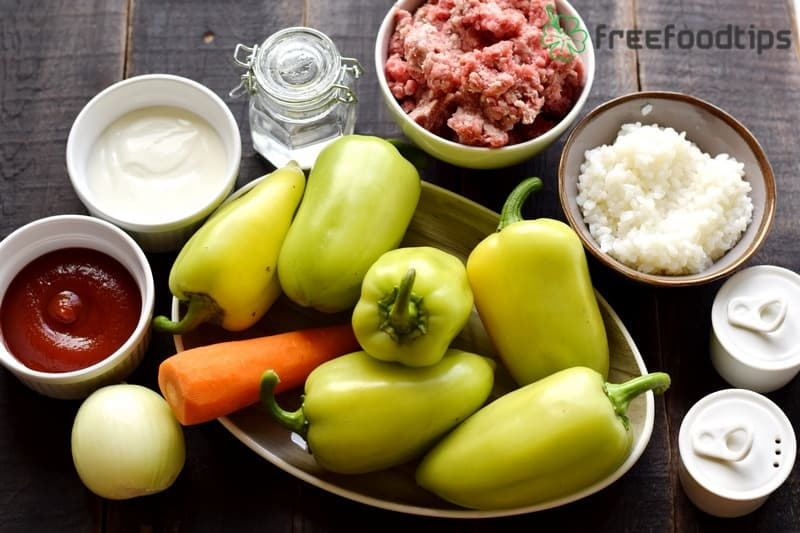 Ingredients for Easy Stuffed Bell Peppers