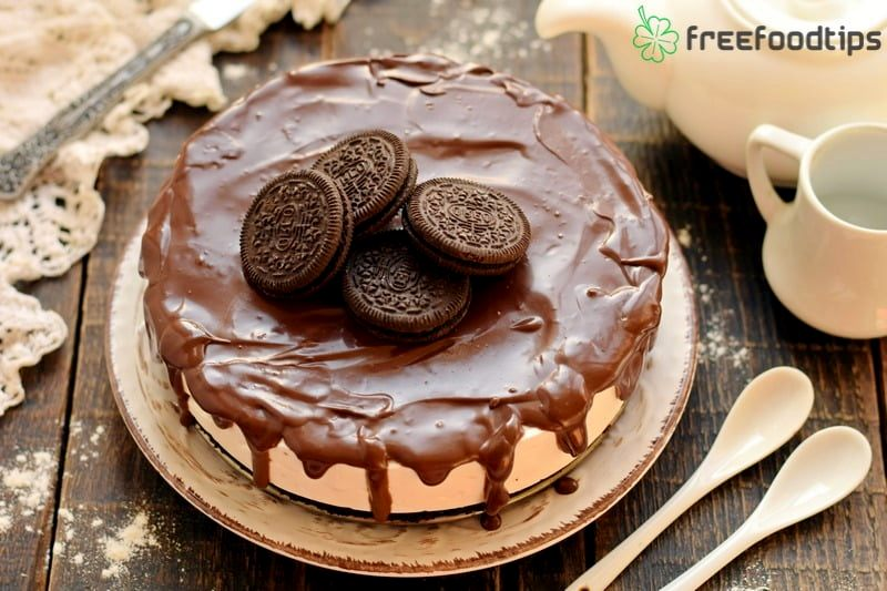 Spread ganache and decorate with cookies