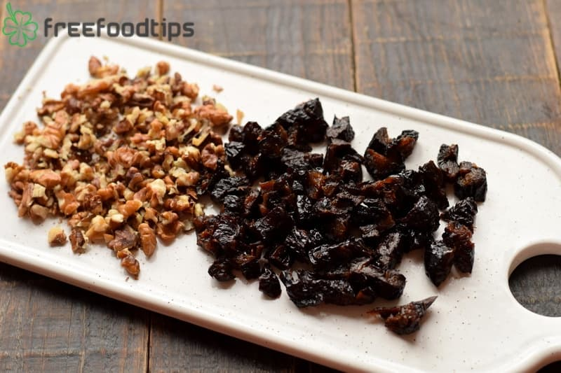 Chop prunes and grind walnuts