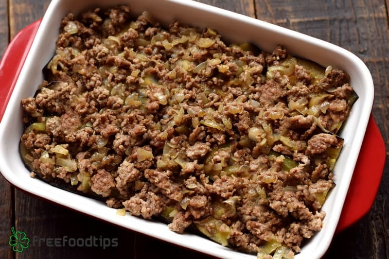 Add the layer of cooked ground beef