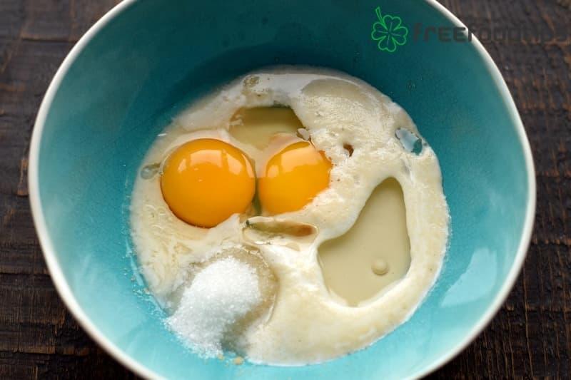 Beat in eggs