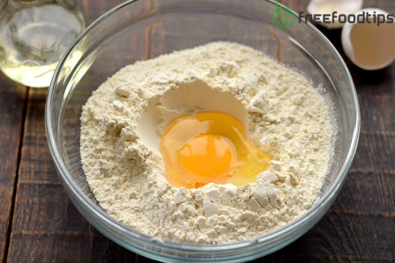 Combine flour salt and an egg