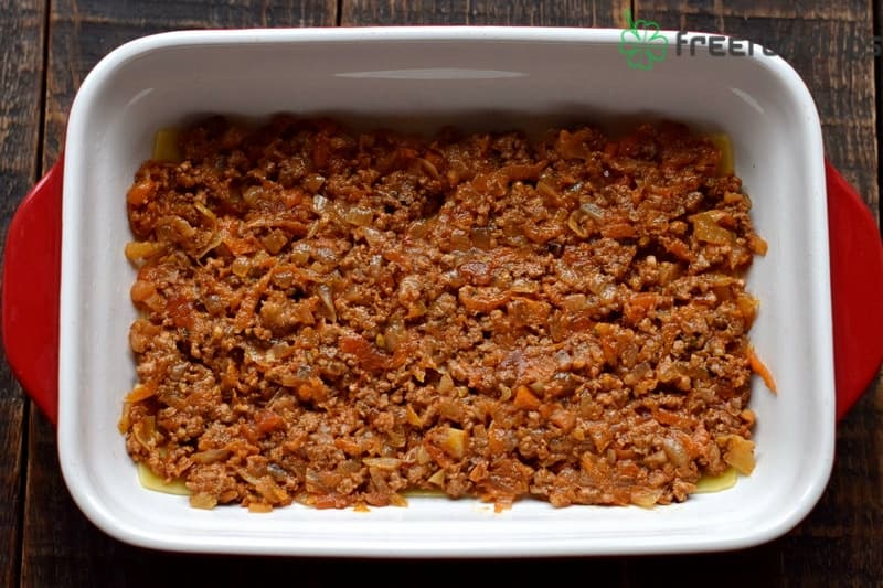 Second layer is Bolognese sauce
