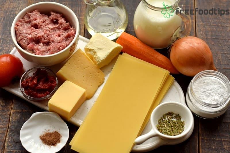 Classic Lasagna Ingredients