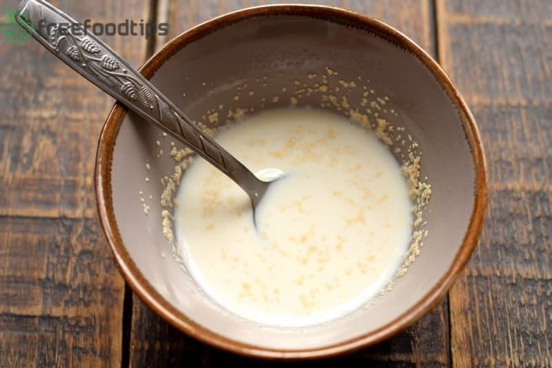 Dissolve active dry yeast in warm milk