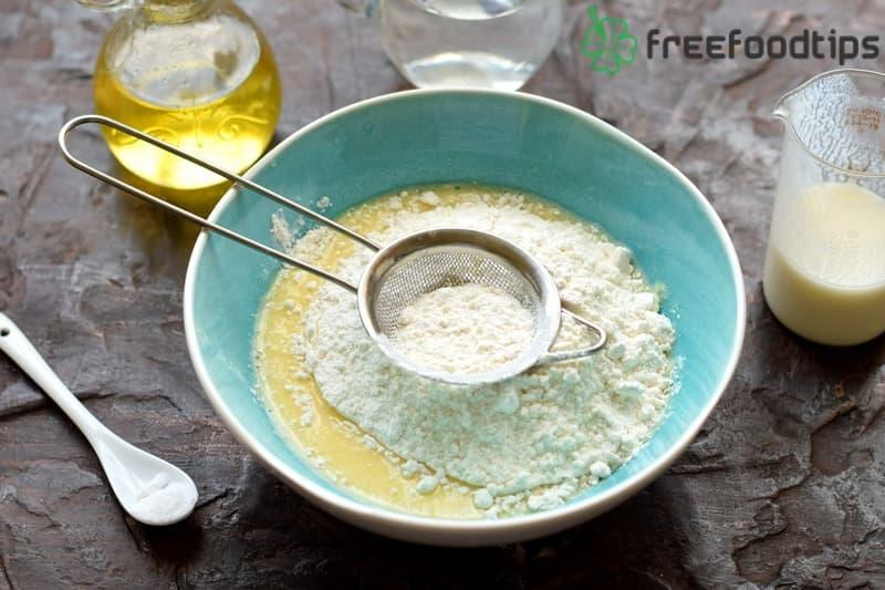 Add sieved flour